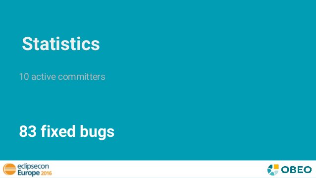 Statistics 10 active committers 83 fixed bugs