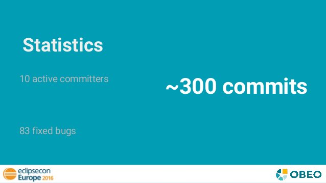 Statistics 10 active committers 83 fixed bugs ~300 commits