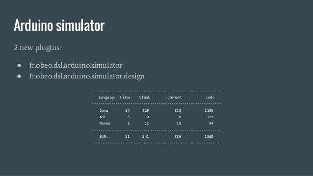 Arduino simulator 2 new plugins: ● fr.obeo.dsl.arduino.simulator ● fr.obeo.dsl.arduino.simulator.design ------------------...