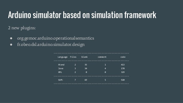 Arduino simulator based on simulation framework 2 new plugins: ● org.gemoc.arduino.operationalsemantics ● fr.obeo.dsl.ardu...