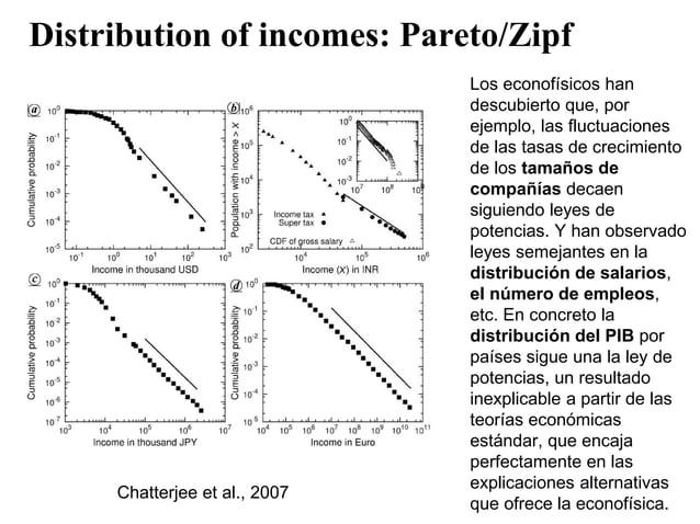 Distribution of incomes: Pareto/Zipf Chatterjee et al., 2007 Los econofísicos han descubierto que, por ejemplo, las fluctu...