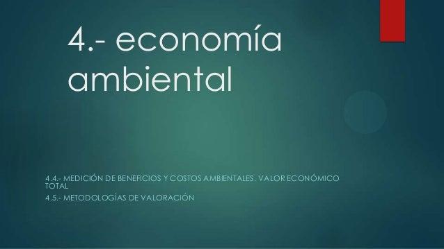 4.- economía ambiental 4.4.- MEDICIÓN DE BENEFICIOS Y COSTOS AMBIENTALES. VALOR ECONÓMICO TOTAL 4.5.- METODOLOGÍAS DE VALO...