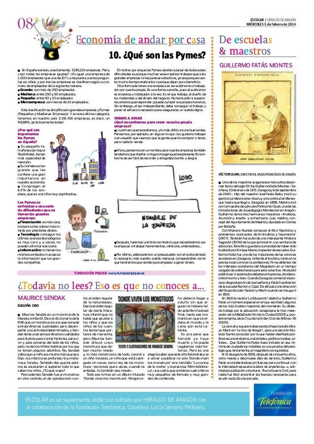ESCOLAR / HERALDO DE ARAGÓN MIÉRCOLES 5 de febrero de 2014  08 EconomÌa de andar por casa 10. ¿Qué son las Pymes?  De escu...