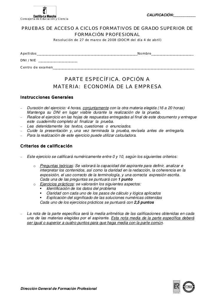CALIFICACIÓN:___________Consejería de Educación y CienciaPRUEBAS DE ACCESO A CICLOS FORMATIVOS DE GRADO SUPERIOR DE       ...