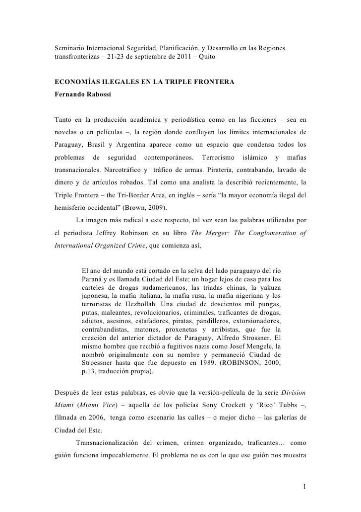 Seminario Internacional Seguridad, Planificación, y Desarrollo en las Regionestransfronterizas – 21-23 de septiembre de 20...
