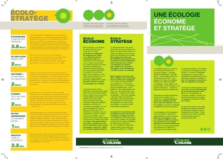 UNE ÉCOLOGIE ÉCONOME ET STRATÈGE     Le président Sarkozy a construit       et environnementale. C'est soutenir son quinqu...