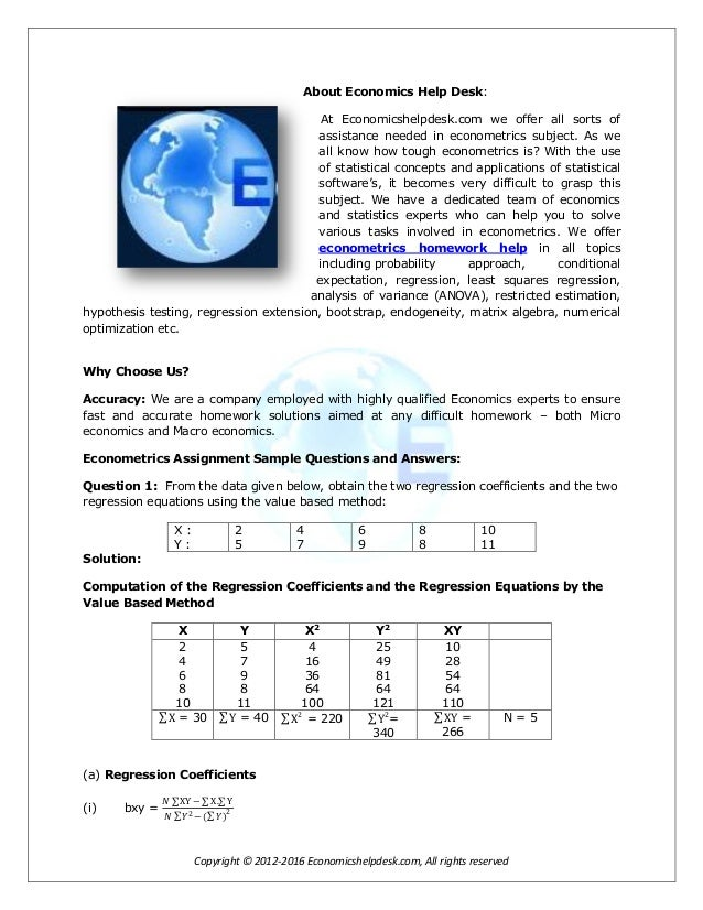 Econometrics coursework help