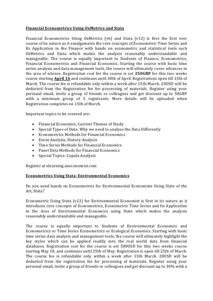 Financial Econometrics Using OxMetrics and StataFinancial Econometrics Using OxMetrics (v6) and Stata (v12) is first the f...