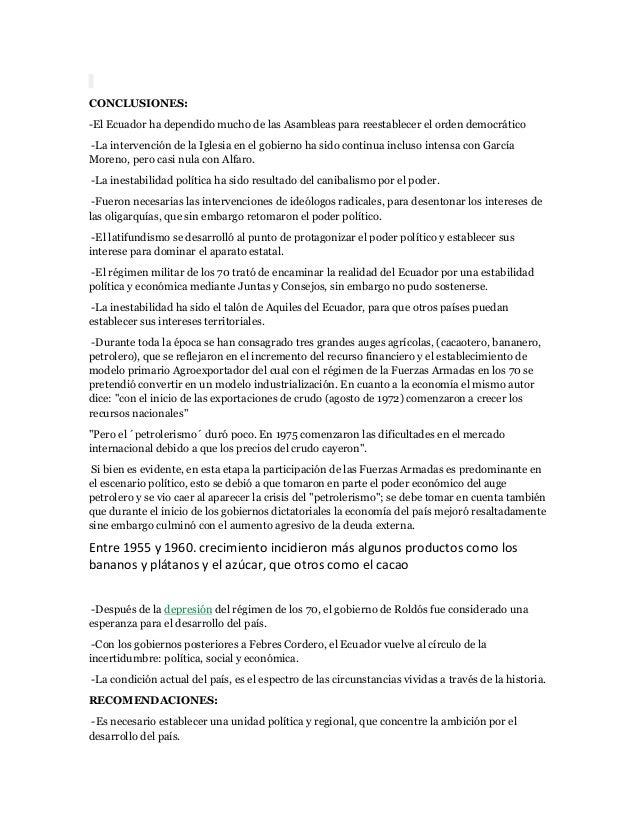 CONCLUSIONES:-El Ecuador ha dependido mucho de las Asambleas para reestablecer el orden democrático-La intervención de la ...