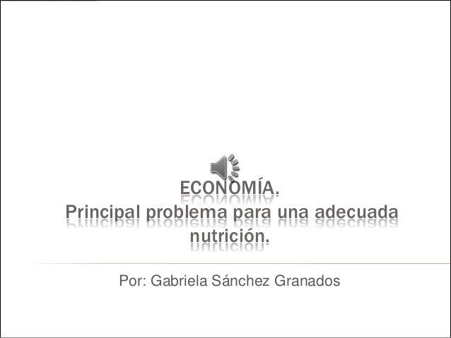 ECONOMÍA. Principal problema para una adecuada nutrición. Por: Gabriela Sánchez Granados