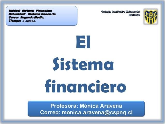 Unidad: Sistema FinancieroSubunidad: Sistema Banca rioCurso: Segundo Medio.Tiempo: 3 clases.                          El  ...