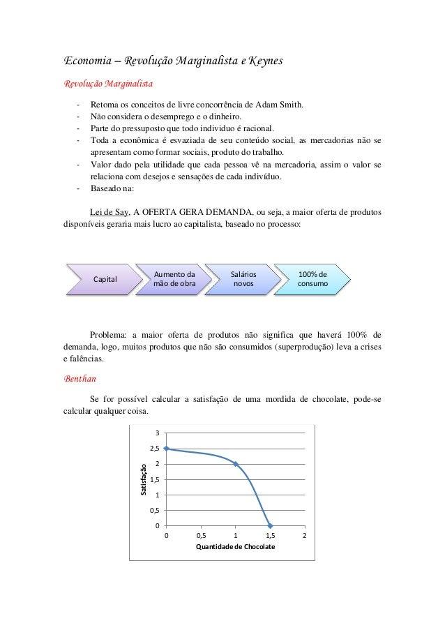 Economia – Revolução Marginalista e Keynes Revolução Marginalista - Retoma os conceitos de livre concorrência de Adam Smit...