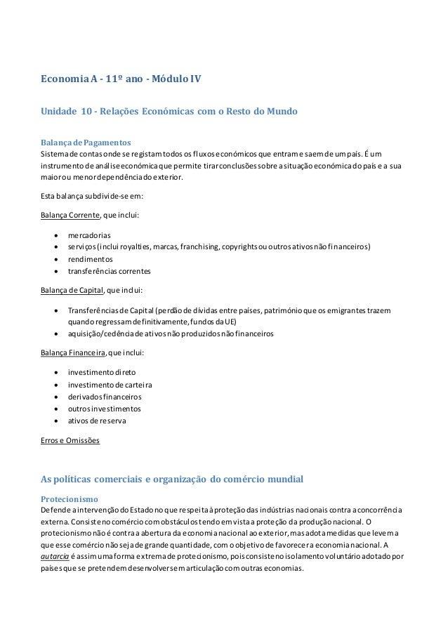 EconomiaA - 11º ano - Módulo IV Unidade 10 - Relações Económicas com o Resto do Mundo BalançadePagamentos Sistemade contas...