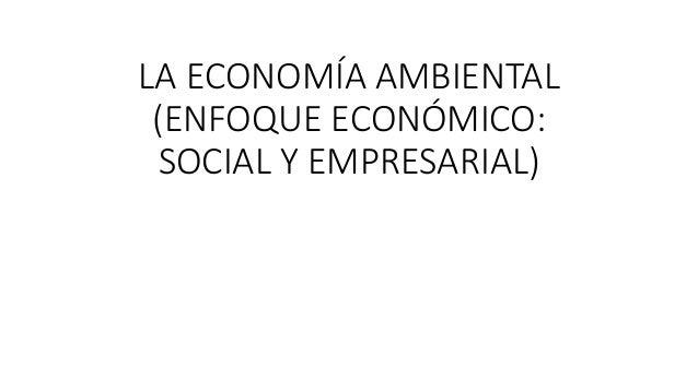 LA ECONOMÍA AMBIENTAL  (ENFOQUE ECONÓMICO:  SOCIAL Y EMPRESARIAL)