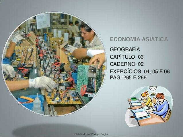 ECONOMIA ASIÁTICA GEOGRAFIA CAPÍTULO: 03 CADERNO: 02 EXERCÍCIOS: 04, 05 E 06 PÁG. 265 E 266 Elaborado por Rodrigo Baglini