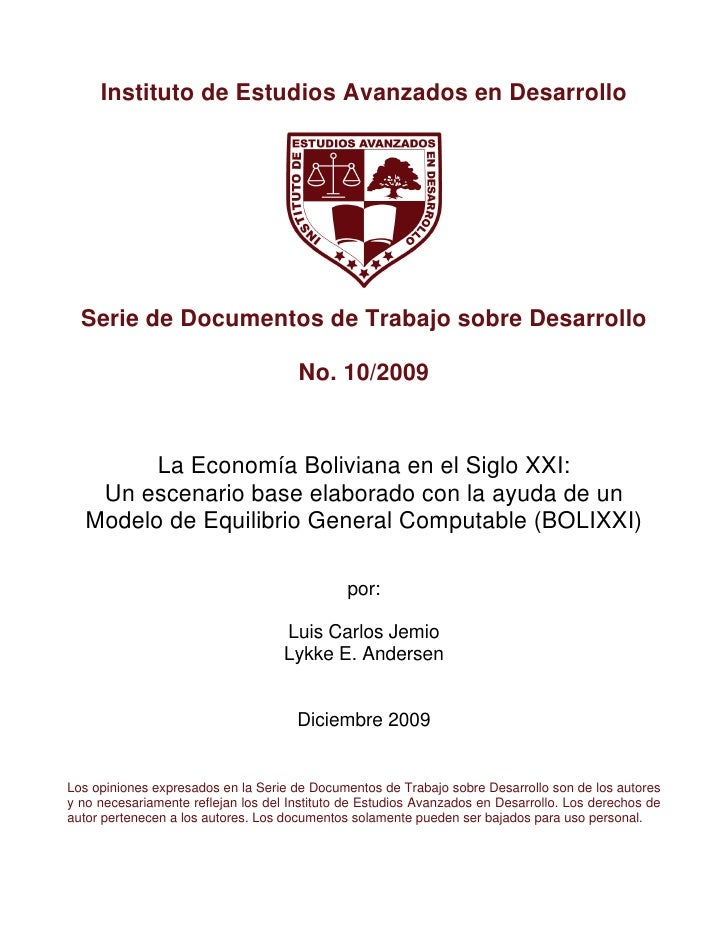 Instituto de Estudios Avanzados en Desarrollo  Serie de Documentos de Trabajo sobre Desarrollo                            ...