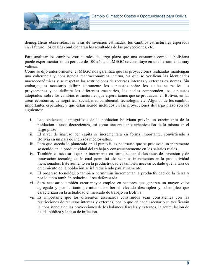 Cambio Climático: Costos y Oportunidades para Boliviademográficas observadas, las tasas de inversión estimadas, los cambio...