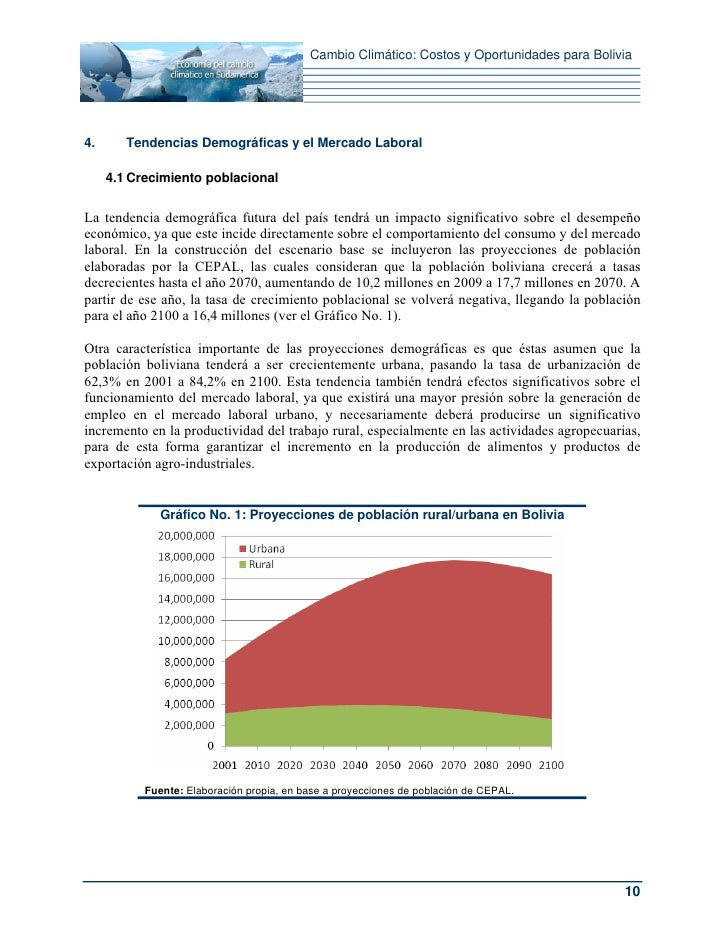 Cambio Climático: Costos y Oportunidades para Bolivia4.      Tendencias Demográficas y el Mercado Laboral     4.1 Crecimie...