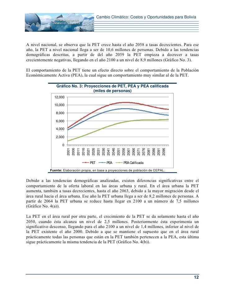 Cambio Climático: Costos y Oportunidades para BoliviaA nivel nacional, se observa que la PET crece hasta el año 2058 a tas...