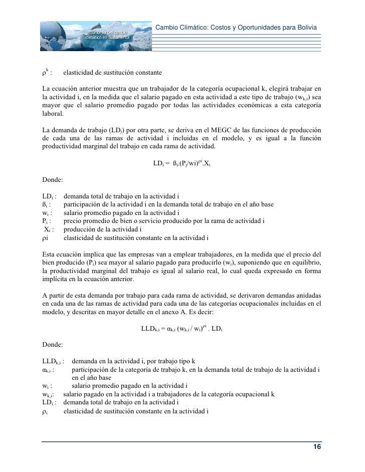 Cambio Climático: Costos y Oportunidades para Boliviaρk :     elasticidad de sustitución constanteLa ecuación anterior mue...