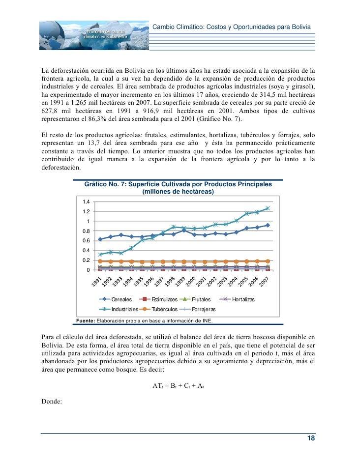 Cambio Climático: Costos y Oportunidades para BoliviaLa deforestación ocurrida en Bolivia en los últimos años ha estado as...
