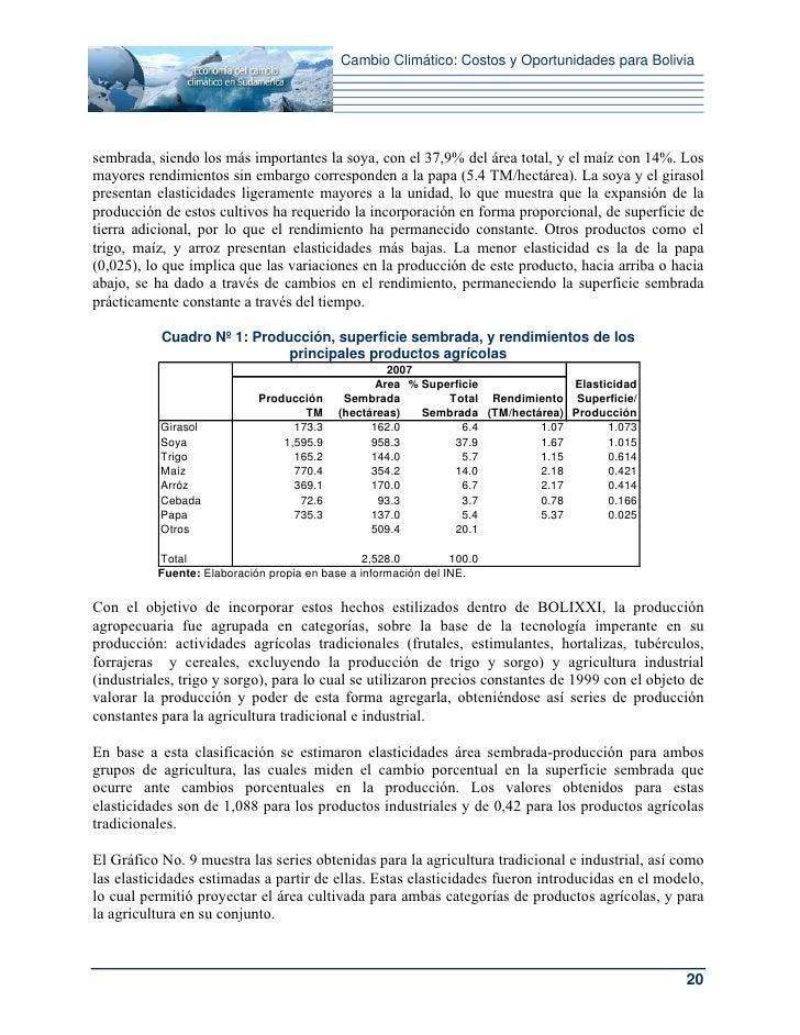 Cambio Climático: Costos y Oportunidades para Boliviasembrada, siendo los más importantes la soya, con el 37,9% del área t...