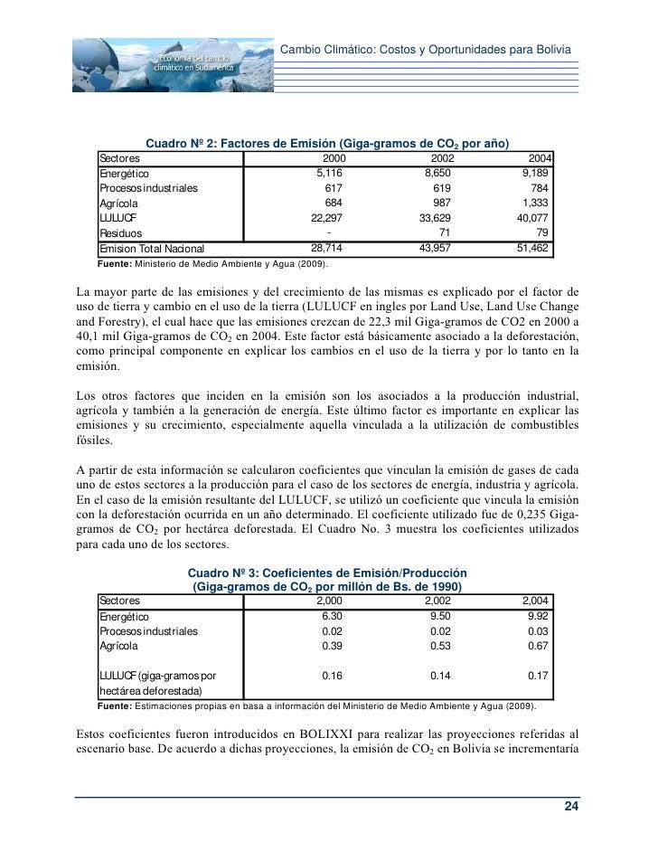 Cambio Climático: Costos y Oportunidades para Bolivia              Cuadro Nº 2: Factores de Emisión (Giga-gramos de CO2 po...