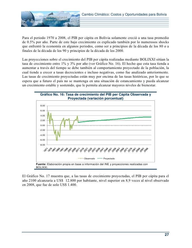 Cambio Climático: Costos y Oportunidades para BoliviaPara el periodo 1970 a 2008, el PIB per cápita en Bolivia solamente c...
