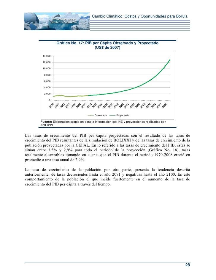 Cambio Climático: Costos y Oportunidades para Bolivia                   Gráfico No. 17: PIB per Cápita Observado y Proyect...
