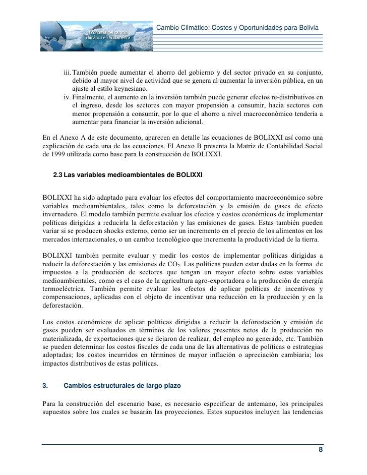 Cambio Climático: Costos y Oportunidades para Bolivia        iii. También puede aumentar el ahorro del gobierno y del sect...