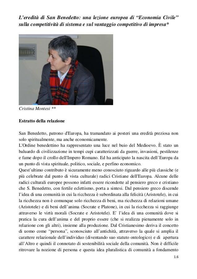 """1.6L'eredità di San Benedetto: una lezione europea di """"Economia Civile""""sulla competitività di sistema e sul vantaggio comp..."""