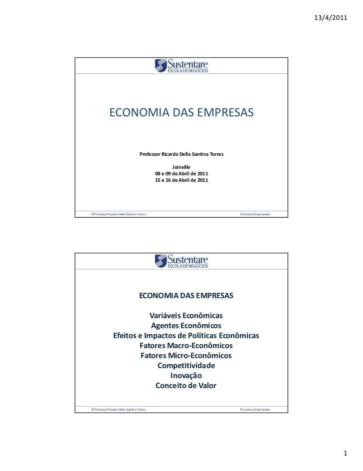 © Professor Ricardo Della Santina Torres                           Economia Empresarial                                   ...