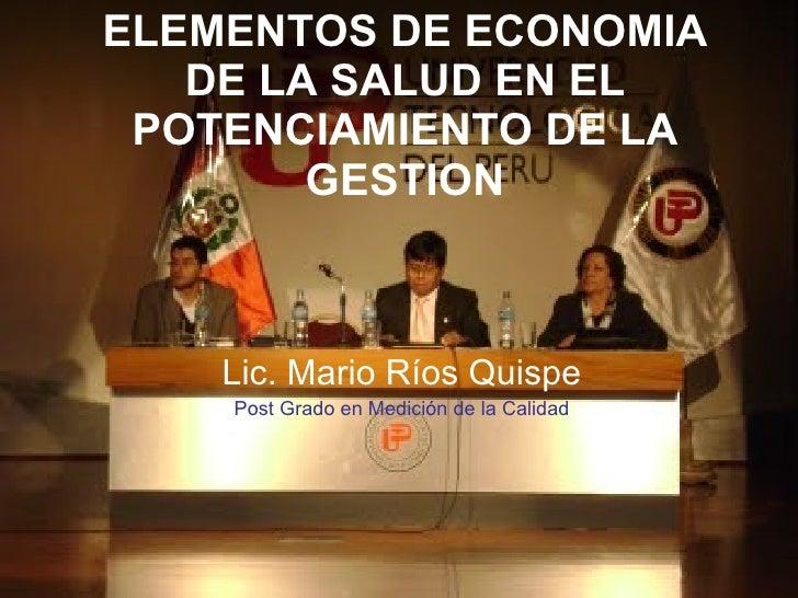 PRINCIPIOS DE ECONOMIA DE LA SALUD