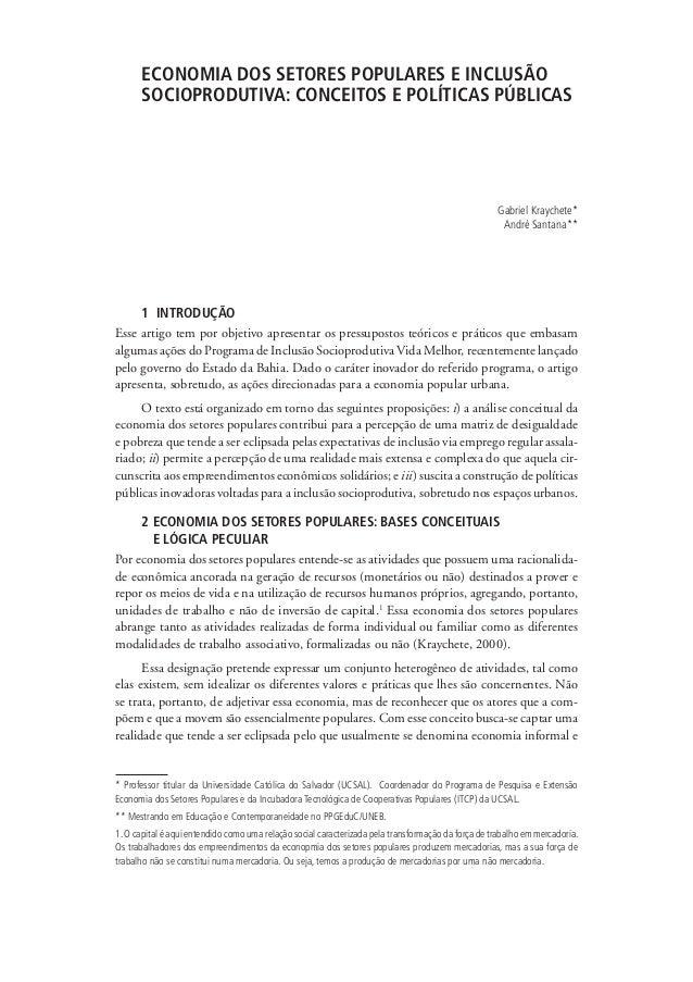 ECONOMIA DOS SETORES POPULARES E INCLUSÃO                                   SOCIOPRODUTIVA: CONCEITOS E POLÍTICAS PÚBLICAS...