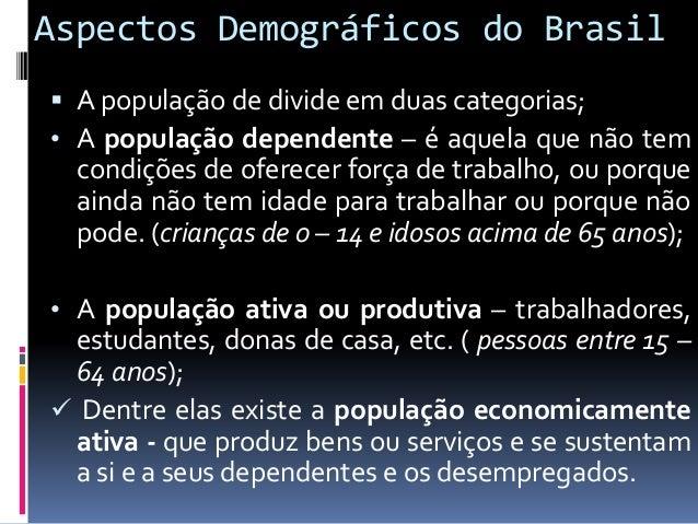 Aspectos Demográficos do Brasil  O primeiro censo demográfico do Brasil foi realizado em 1872, mais apenas em 1940 foi re...