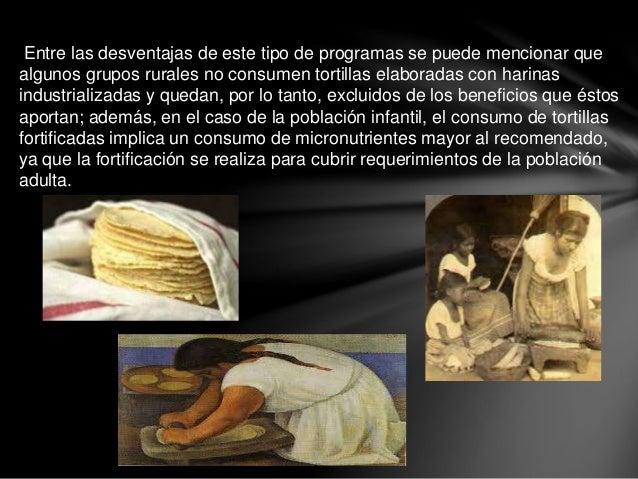 Entre las desventajas de este tipo de programas se puede mencionar que algunos grupos rurales no consumen tortillas elabor...