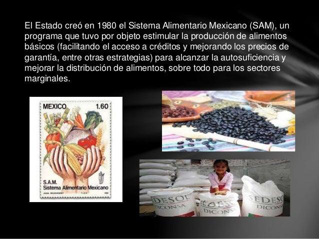 El Estado creó en 1980 el Sistema Alimentario Mexicano (SAM), un programa que tuvo por objeto estimular la producción de a...