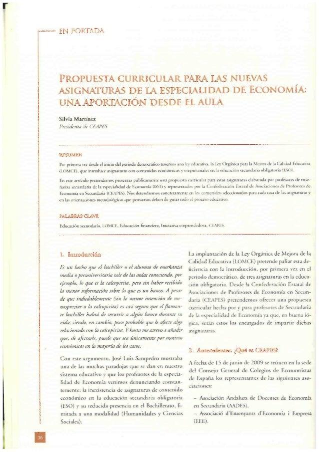 EN PORTADA  PROPUESTA CURRICULAR PARA LAS NUEVAS ASIGNATURAS DE LA ESPECIALIDAD DE ECONOMÍA:  UNA APORTACIÓN DESDE EL AULA...