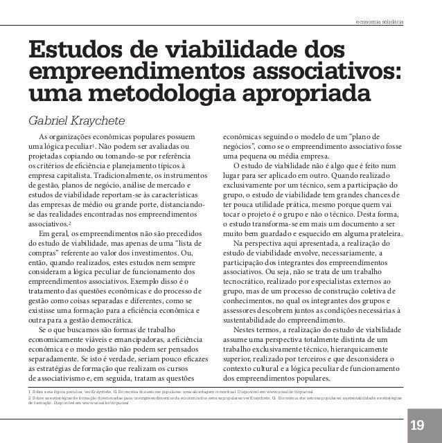 economia solidária        Estudos de viabilidade dos        empreendimentos associativos:        uma metodologia apropriad...