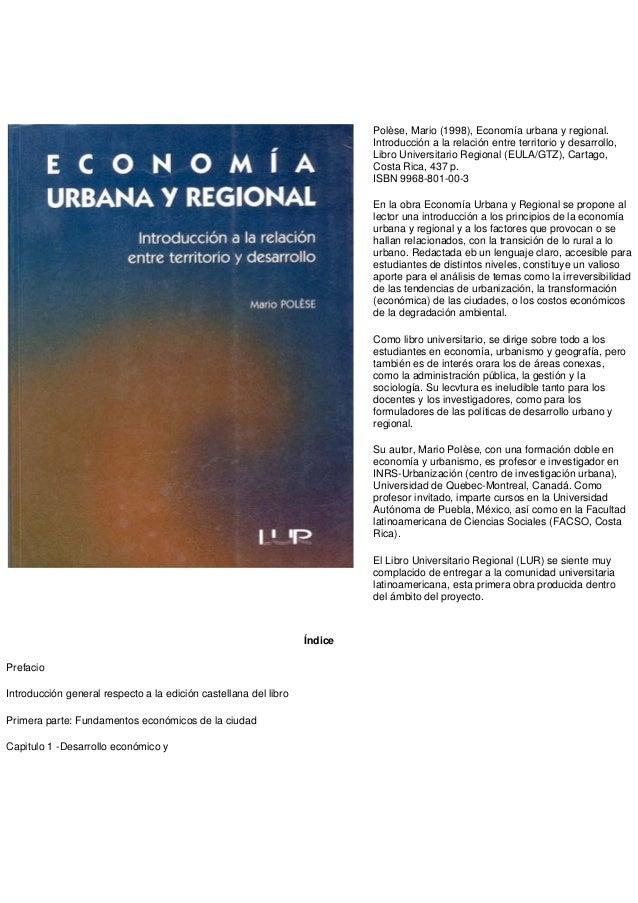 Polèse, Mario (1998), Economía urbana y regional.                                                                         ...