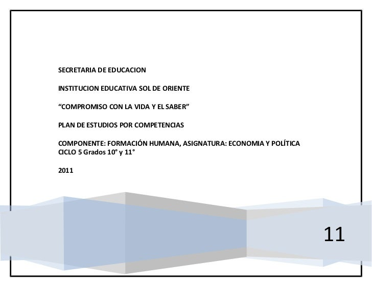 """SECRETARIA DE EDUCACIONINSTITUCION EDUCATIVA SOL DE ORIENTE""""COMPROMISO CON LA VIDA Y EL SABER""""PLAN DE ESTUDIOS POR COMPETE..."""