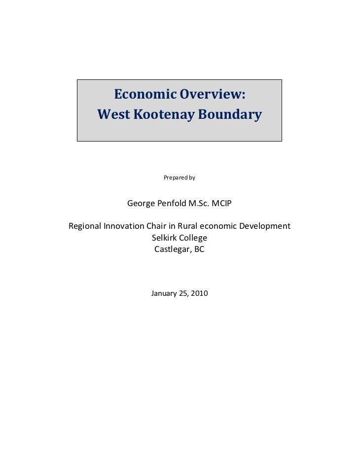 Economic Overview:                                       West Kootenay Boundary                           ...