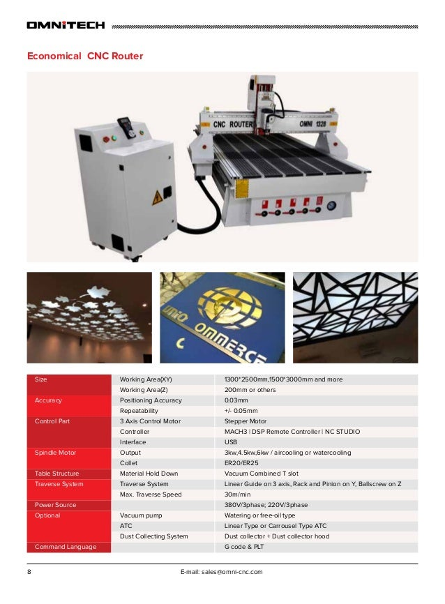 8 E-mail: sales@omni-cnc.com Economical CNC Router 1300*2500mm,1500*3000mm and more 200mm or others 0.03mm +/- 0.05mm Step...