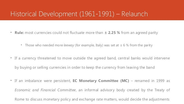 Historical Development (1961-1991) – Relaunch • Rule: most currencies could not fluctuate more than ± 2.25 % from an agree...