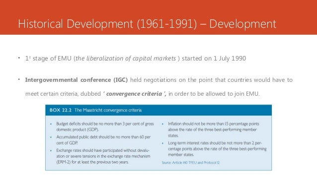 Historical Development (1961-1991) – Development • 1st stage of EMU (the liberalization of capital markets ) started on 1 ...