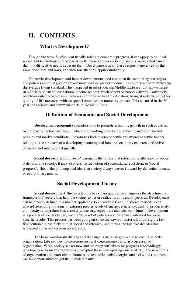 economic development and social change essay Process of human & social development by robert  economic, social or  was told by the agent that he had only six minutes to change trains at a.