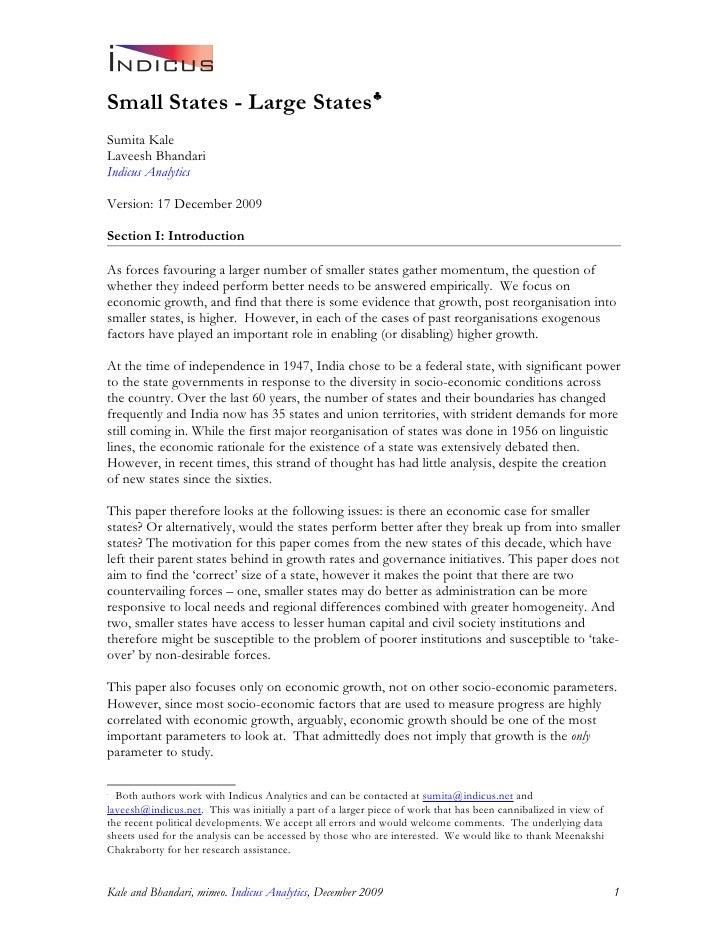 Small States - Large States♣ Sumita Kale Laveesh Bhandari Indicus Analytics  Version: 17 December 2009  Section I: Introdu...