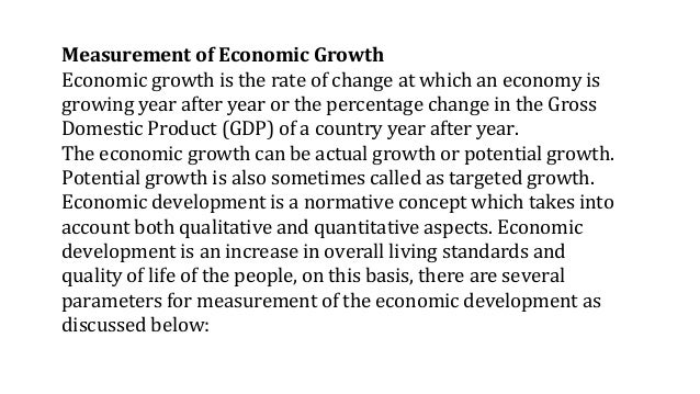 distinguish economic growth and economic development