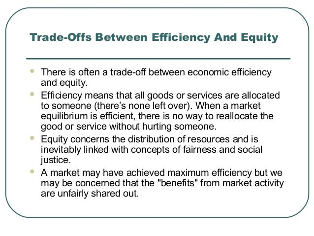 breaking the trade off between efficiency Trade is the general word: a brisk trade between the nations  also trade-off, sacrifice of one benefit for another, 1959, from verbal phrase to trade off.