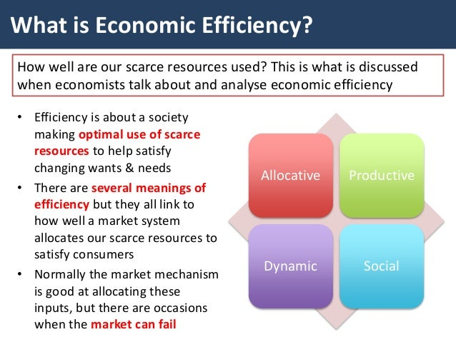 explain what is meant by economic efficiency Economic efficiency misc  explain what is meant by economic efficiency [12] (b) discuss how the privatisation of an industry might affect economic efficiency [13] a economic efficiency – static efficiency [productive and allocative] and dynamic efficiency.